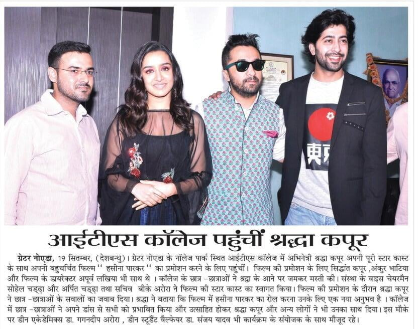 Shraddha Kapoor visit ITS Engineering College for promoting the movie.