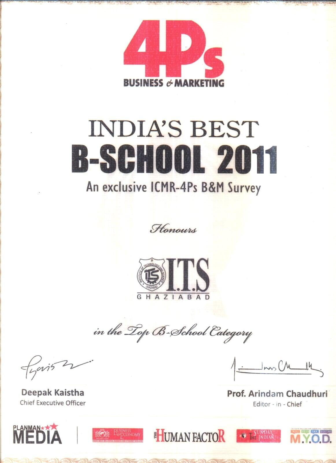 India's Best B - School For The Year 2011