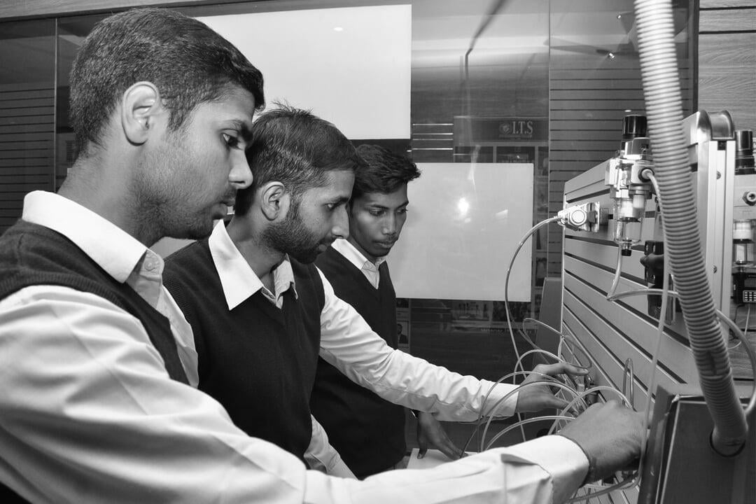 B.Tech Mechanical Engineering Students in Lab  at ITS
