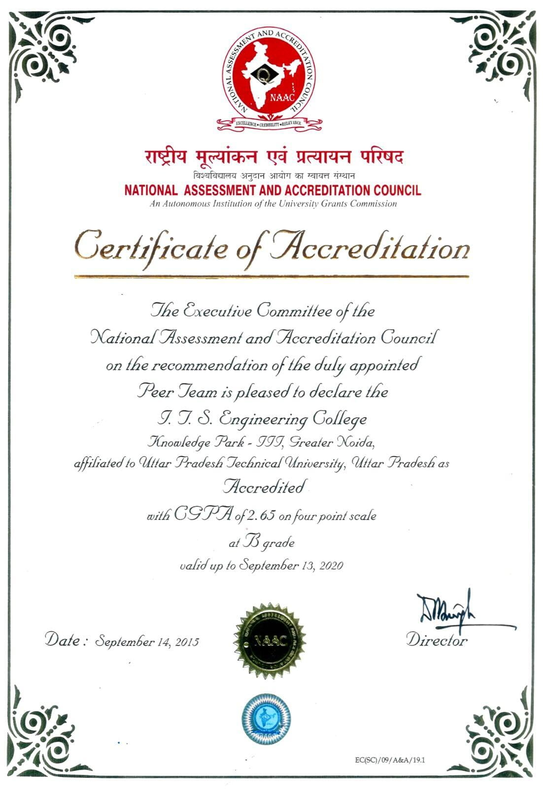 NAAC Certificate ITS Engineering College