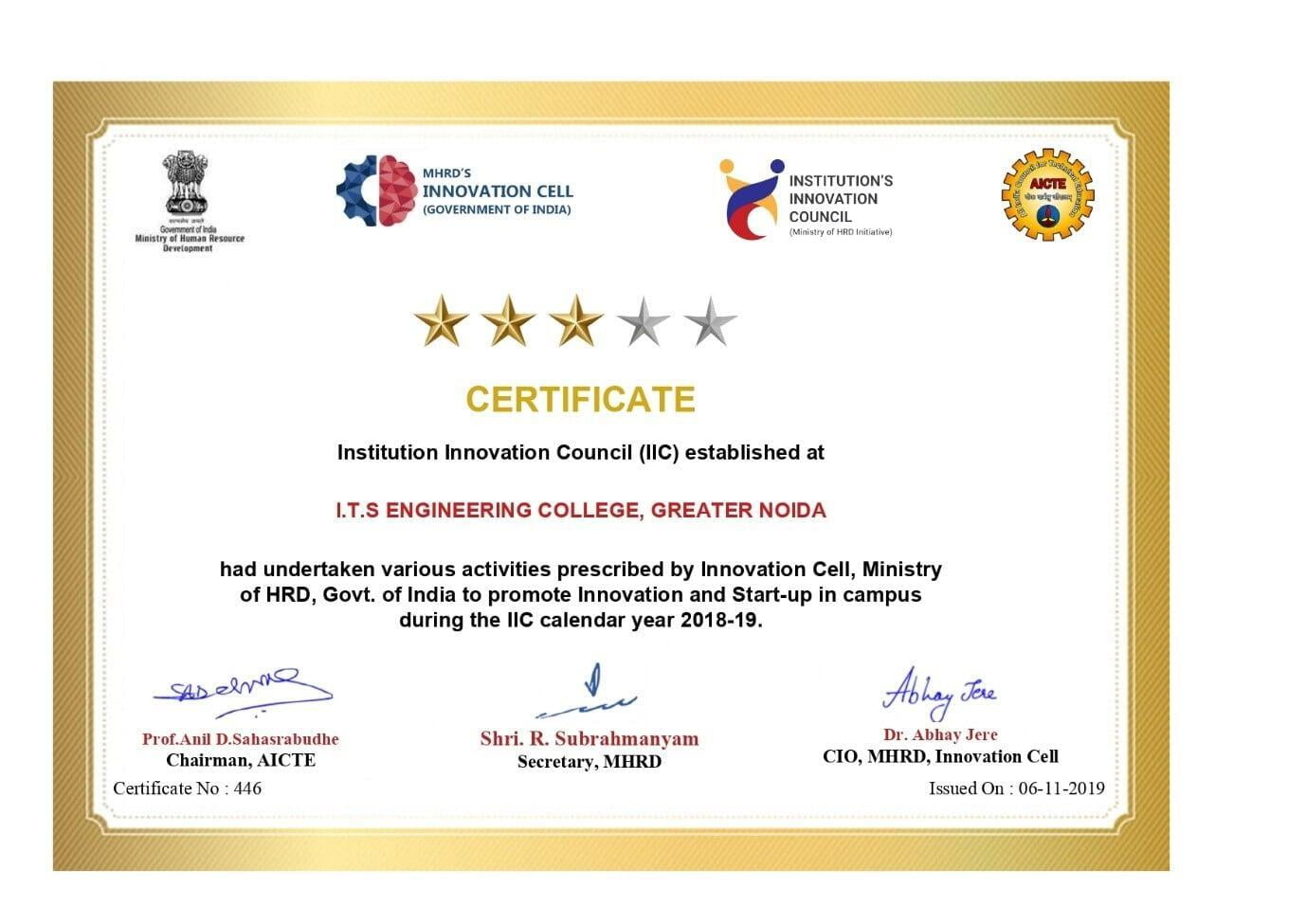 ​Institute Innovation Cell MHRD Certificate