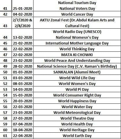 Events Calendar ITS Engineering College