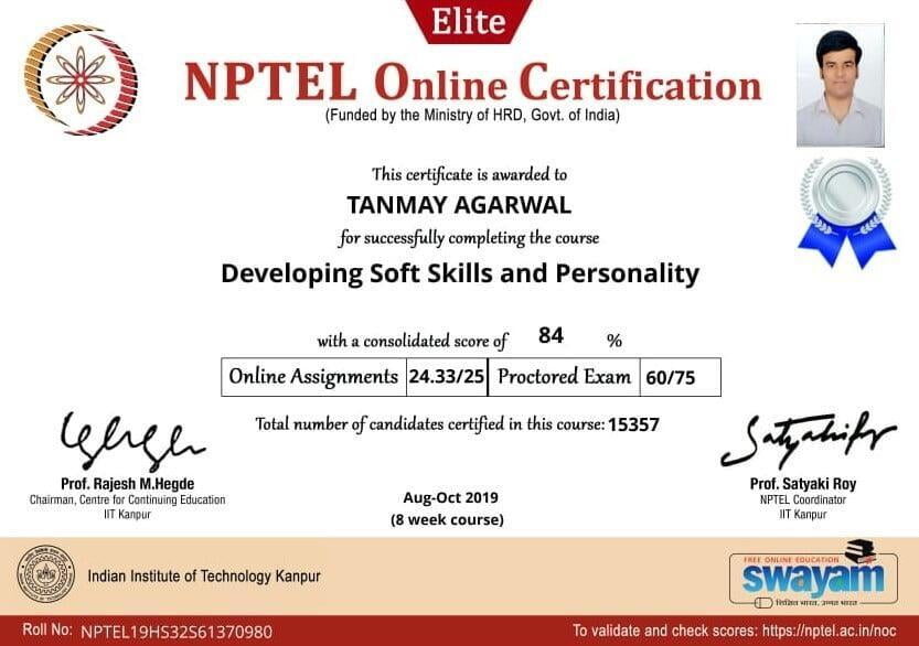 B.Tech Civil Engineering Students NPTEL Certification at ITS